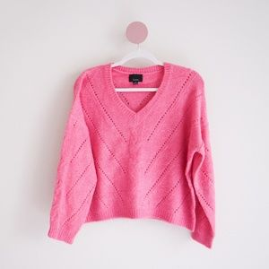 Lumiere Sweaters - Lumière Pink Open-Weave Cozy Sweater